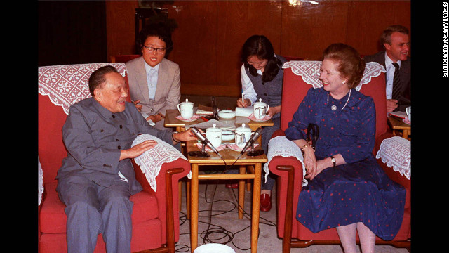 Chinese leader Deng Xiaoping and Thatcher at the Great Hall of the People in Beijing in September 1982. They were holding meetings leading up to the signing of the Sino-British Joint Declaration on the future of Hong Kong in 1984.