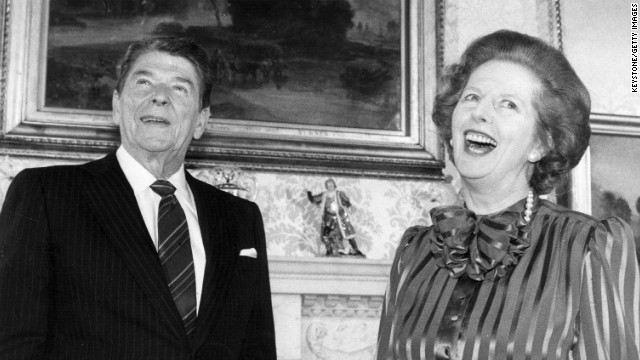 Thatcher and President Ronald Reagan share a joke in London in June 1984. The British politician enjoyed a close working relationship with Reagan, with whom she shared similar conservative views.