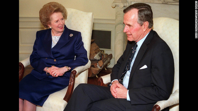 The former prime minister chats with President George H.W. Bush in March 1991 in the White House Oval Office before receiving the Presidential Medal of Freedom. The award is the highest civilian honor bestowed in the United States.