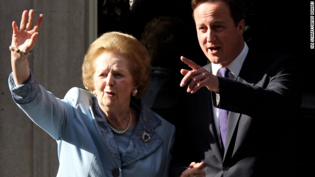"Margaret Thatcher, the first woman to become British prime minister, has died at 87 after a stroke, a spokeswoman said Monday, April 8. Known as the ""Iron Lady,"" Thatcher, as Conservative Party leader, was prime minister from 1979 to 1990. Here she visits British Prime Minister David Cameron at 10 Downing Street in London in June 2010."