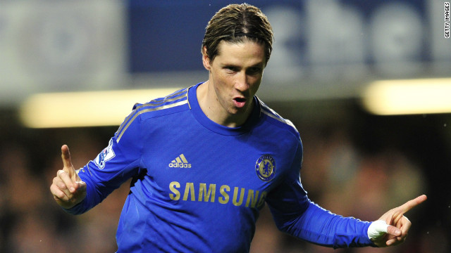 Fernando Torres headed Chelsea in front against Aston Villa with his 14th goal of the season. The Spaniard's goalscoring form has been transformed since the arrival of new interim manager Rafa Benitez. Chelsea crushed Villa 8-0 to inflict the worst ever top-flight defeat on the visiting club.