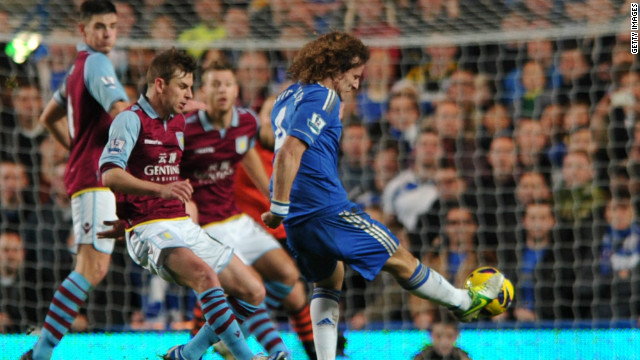 David Luiz doubled Chelsea's lead on 29 minutes with a spectacular free-kick as Chelsea cruised past a young Villa side at Stamford Bridge.