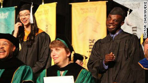 Victor Chukwueke attends his graduation at Wayne State University, where he served as commencement speaker.