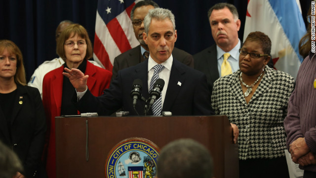 Chicago Mayor Rahm Emanuel, center, and other area officials call for stronger gun regulations at a news conference last week.