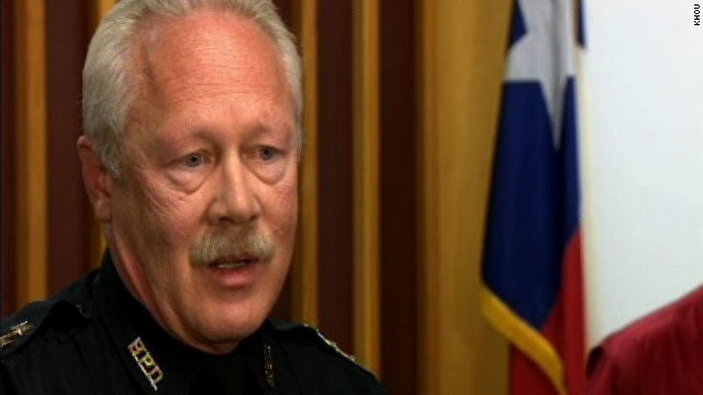 Bellaire, Texas, Chief of Police Byron Holloway discusses the death of a police officer killed in a parking lot shootout, Monday.