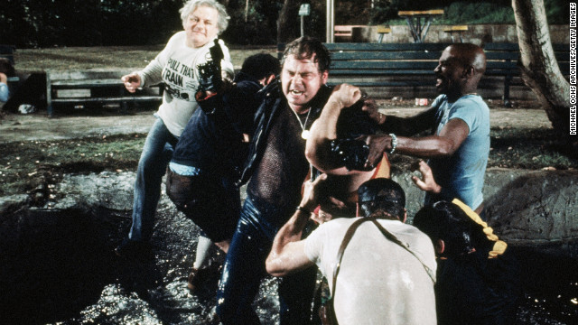 Durning, upper left, is featured in a scene from the 1977 movie &quot;The Choirboys.&quot;