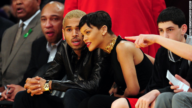 Chris Brown, Rihanna at the Lakers game