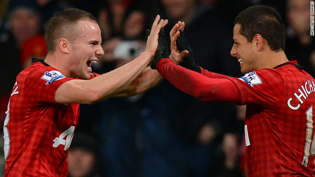 Javier Hernandez (right) celebrates with Tom Cleverley after scoring Manchester United's winner in the 4-3 win over Newcastle. 