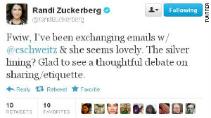No hard feelings? Randi Zuckerberg tweeted that a photo flap has spurred \
