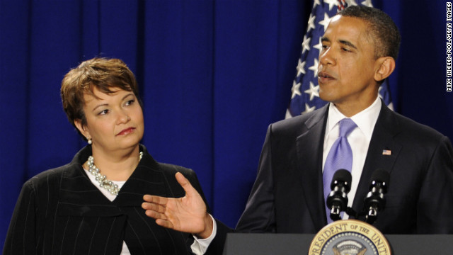 EPA Administrator Lisa Jackson listens as President Obama delivers remarks to EPA employees in January.