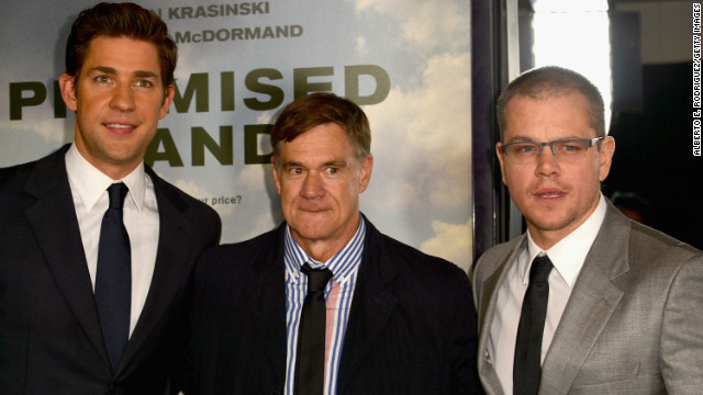 From left, John Krasinski, Gus Van Sant and Matt Damon promote what Sheril Kirshenbaum says will be a controversial film.
