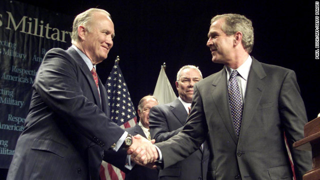 Republican presidential candidate and Texas Gov. George W. Bush and Schwarzkopf on stage after their speeches to veterans at Wright State University in Dayton, Ohio, on September 7, 2000.