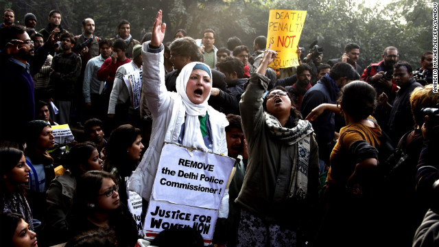 Students in New Delhi on Thursday, December 27, protest a recent brutal gang rape in the city.