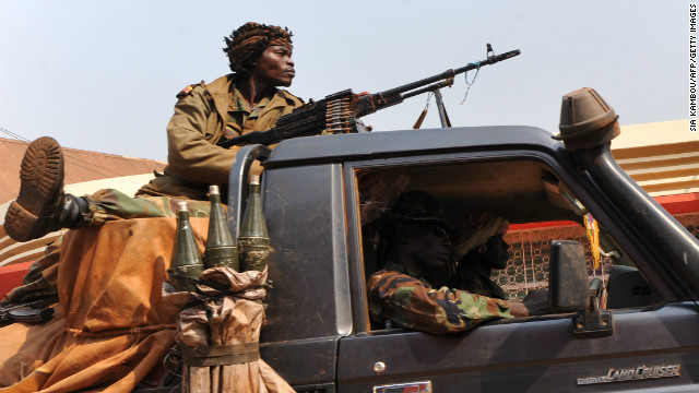 Central African Republic soldiers patrol a street of Bangui on December 31, 2012.