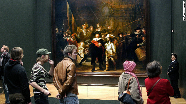 Dutch artist Rembrandt van Rijn's famous 'Night Watch' painting in Amsterdam's Rijksmuseum. The museum reopens in April 2013 after a 10-year renovation -- just one of the reasons to hit the Dutch city in 2013.