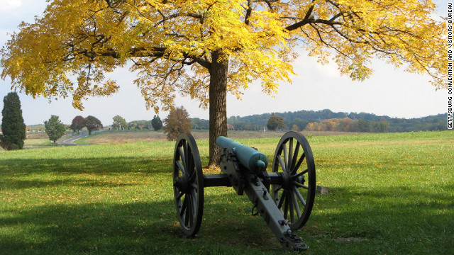 A cannon on Confederate Avenue in Gettysburg. U.S. Civil War history will take center stage in 2013. A year of events and commemorations are scheduled in and around Gettysburg, including a 10-day program of tours, performances and a massive battle re-enactment on July 4.