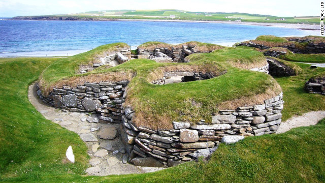The remains of a Skara Brae building on the Orkney Islands of Scotland. This massive and mysterious village on the Bay of Skaill is still being excavated.