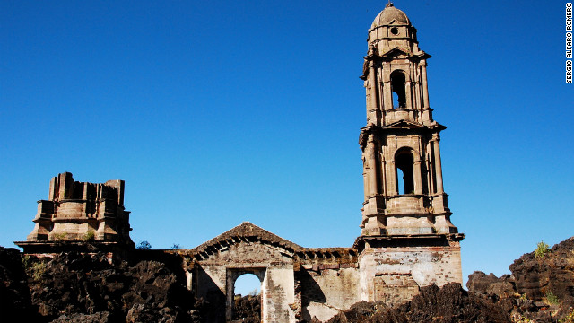 The surviving San Juan Parangaricutiro ruins in Michoacán, Mexico. In 1943, an explosive volcano eventually buried San Juan Parangaricutiro and another village.