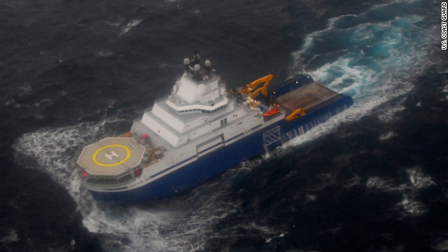 Crews of two tug boats secured towing lines to the oil rig Kulluk, which went adrift Sunday while being towed to Seattle.