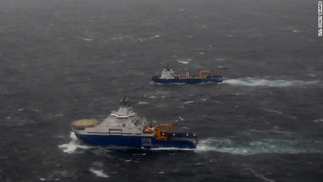 Coast Guard crews continue to battle the elements to provide assistance to the crews of the Kulluk and its four support vessels. 