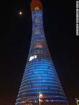 The Aspire Tower, also known as the Torch, is the tallest building in Doha and offers a highly regarded hotel and spectacular 360 degree views across the city.