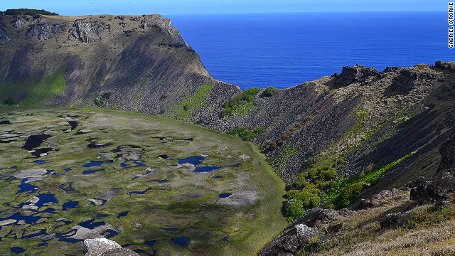 The island is primarily made up of three extinct volcanoes: Terevaka, Poike and Rano Kau. &lt;br/&gt;&lt;br/&gt;The latter makes up the south 'wing' of the island. It has a huge crater (pictured) and sits astride the ceremonial village of Orongo, which has breathtaking 360-degree views of the island and Pacific Ocean.