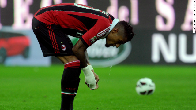 AC Milan midfielder Kevin-Prince Boateng walked off the pitch after being racially abused in his side's friendly with Pro Patria.