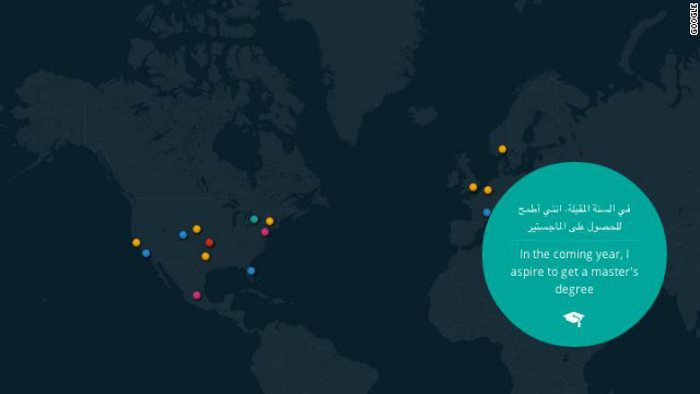 Google has created an interactive map to let users share their New Year's resolutions and see what others are doing.