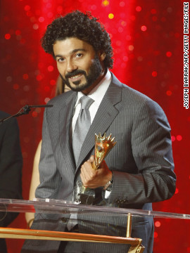 Egyptian actor Khaled El Nabawy speaks after receiving the Best Arab TV Actor award during the Murex d'Or ceremony in Lebanon, on June 19, 2009.