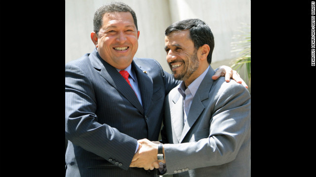 Chavez embraces Iranian President Mahmoud Ahmadinejad, right, in Tehran, Iran, on July 1, 2007. The two presidents have enjoyed a close relationship and Chavez has referred to Ahmadinejad as his &quot;ideological brother.&quot;