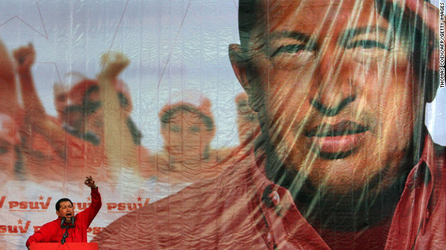 Chavez speaks during a rally in Caracas on November 18, 2008. Chavez pushed to change term limits in Venezuela through a referendum that passed on February 15, 2009, clearing the way for him to run for a third six-year term.