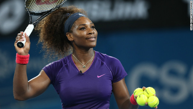 Williams, who beat the world No. 1 in the final of September's U.S. Open, hits balls into the crowd at Pat Rafter Arena after Azarenka announced her withdrawal.