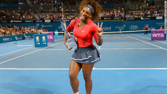 Serena Williams clearly delighted to have started 2013 by winning the Brisbane International title.
