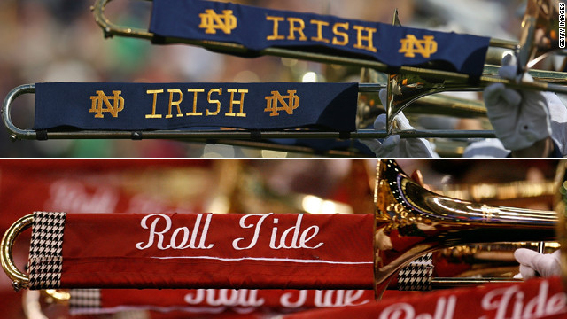 Tradition-rich Notre Dame and Alabama play for college football's national championship tonight.