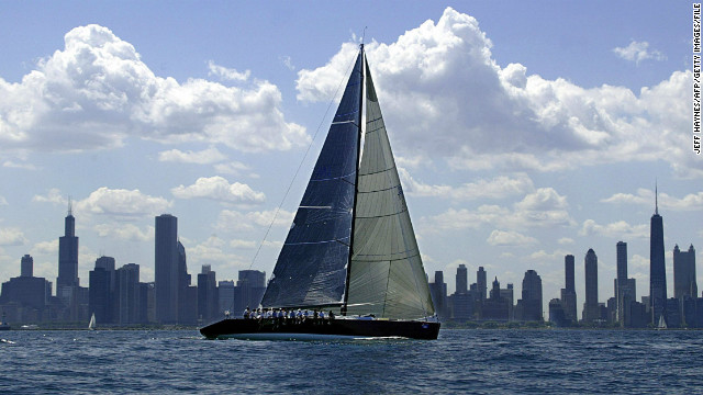 A yacht sets sail on the waters of Lake Michigan with the Chicago's spectacular skyline in the background. 