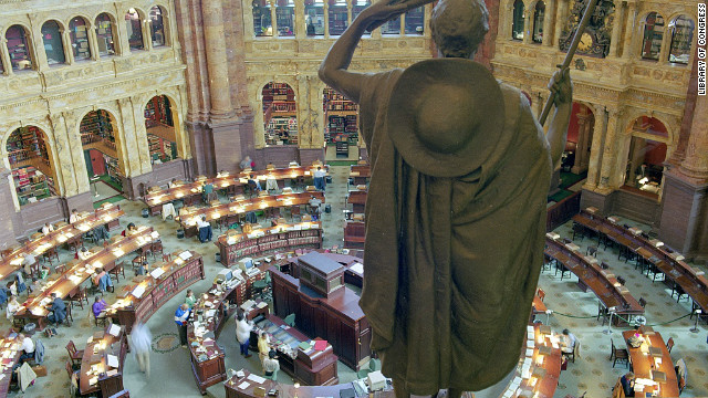 The reading room at the Library of Congress's historic Thomas Jefferson Building in Washington, D.C.
