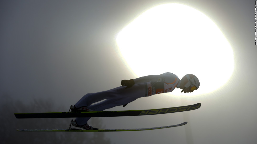 Kamil Stoch of Poland makes a jump during the FIS Ski Jumping World Cup Four Hills Tournament on Sunday, January 6, in Bischofshofen, Austria. Participants compete in four events and earn points toward the World Cup. The competition began in Germany on December 29 and ended Sunday in Bischofshofen.