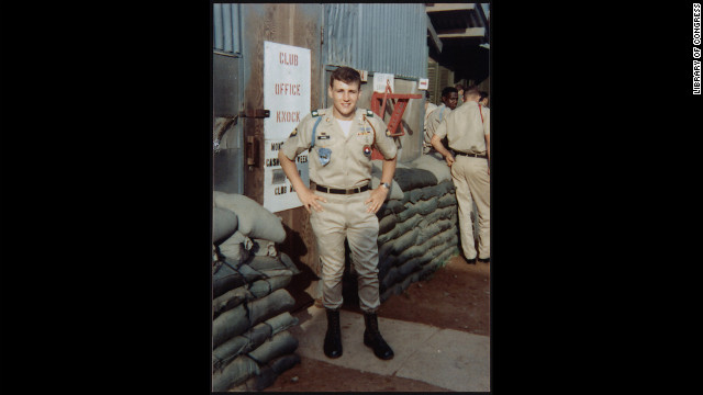 Hagel, pictured in uniform in 1968, volunteered for the U.S. Army, serving a yearlong tour.