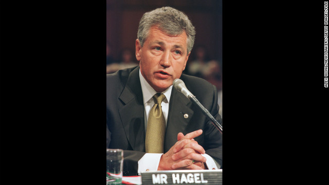 Hagel was a Republican senator from Nebraska from 1997 to 2009. Here, he testifies before the Senate Commerce Committee during a September 2000 hearing on the marketing of violence to children.