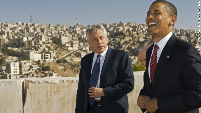 Candidate Obama and Hagel tour Jordan's historic Amman Citadel in July 2008. 