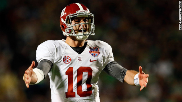 Quarterback AJ McCarron of Alabama celebrates after a touchdown against Notre Dame on Monday.
