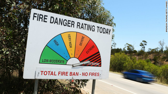 The fire rating reached &quot;catastrophic&quot; in four areas of New South Wales, prompting warnings from Prime Minister Julia Gillard that Tuesday was a &quot;dangerous day.&quot;
