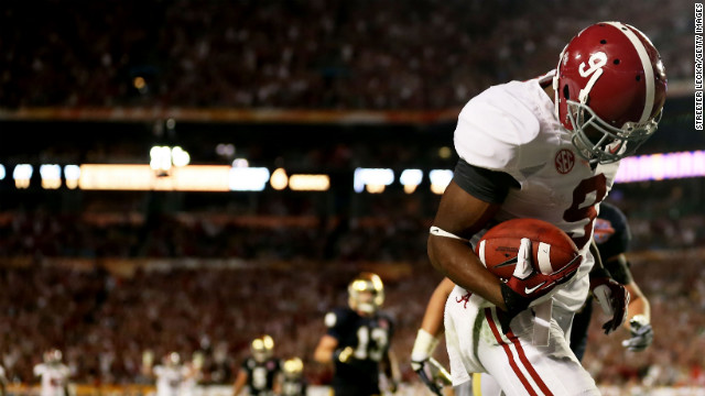 Alabama's Amari Cooper scores a touchdown in the third quarter against Notre Dame.