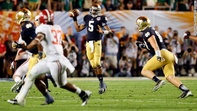 Notre Dame quarterback Everett Golson drops back to pass against Alabama.
