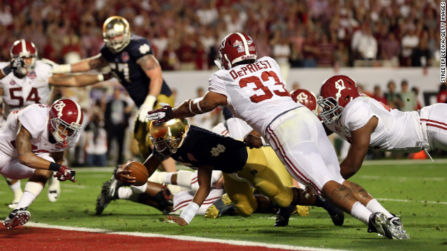 Notre Dame's Everett Golson dives for a touchdown in the third quarter against Alabama.