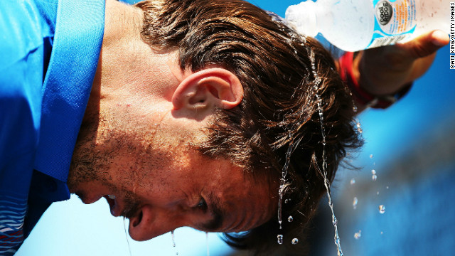 Spaniard Tommy Robredo is used to high temperatures but even he needed to take unusual measures to cope in Sydney.