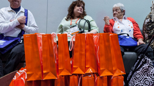 Bags by the GFK marketing research firm wait to be given out at CES on Tuesday.