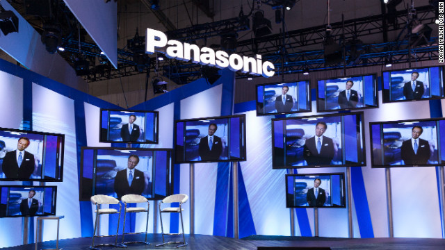 Panasonic President and CEO Kazuhiro Tsuga delivers a keynote speech on Tuesday.