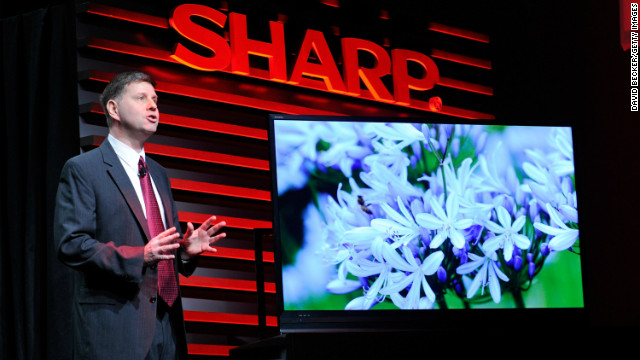 Sharp Electronics exec Jim Sanduski unveils the Sharp ICC Purios 4K ultra HD television at a January press event at the Mandalay Bay Convention Center. It will hit the market this winter at an eye-popping price of about $31,000.
