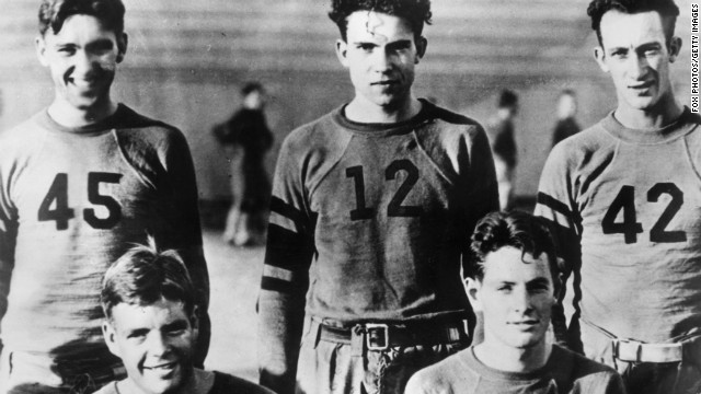Nixon, No. 12, and his football teammates at Whittier College pose for a picture in the 1930s. After graduating from Whittier, he attended law school at Duke University.